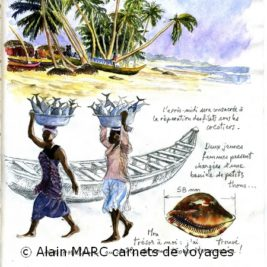 Page du carnet de voyage des perles de Krobo