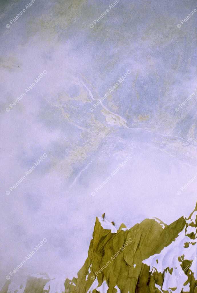 """""""Dans l'éperon Frendo""""  Aquarelle 50 x 65 cm (valeur actuelle 1600 €, original non disponible à la vente), reproduction Beaux Arts à l'identique sur beau papier Hahnemühle 300 gr/m2 de 24 x 30 cm à 50 x 70 cm marge comprise, voir bon de commande dédié, """"Duplications Beaux - Arts des aquarelles"""""""