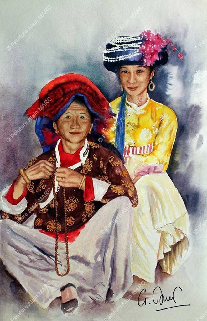 """""""Wang et sa grand-mère"""". Portrait de deux femmes de l'ethnie matriarcale des Mosso, réalisé au retour d'un voyage au Yunnan d'après les notes et croquis préparatoires effectués sur place. Aquarelle 55 x 65 cm (valeur actuelle 2500 € original disponible à la vente), reproduction Beaux Arts à l'identique sur beau papier Hahnemühle 300 gr/m2 24 x 30 cm à 50 x 70 cm marge comprise, voir bon de commande dédié, """"Duplications Beaux - Arts"""""""