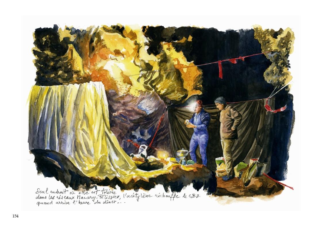 Page 154 : la vie des spéléologues au quotidien à l'intérieur du gouffre, accompagne l'aventure même de l'exploration. Le thème principal de cet ouvrage est le témoignage de cette aventure, vécue tout au long des sept ans de la réalisation du carnet d'exploration.