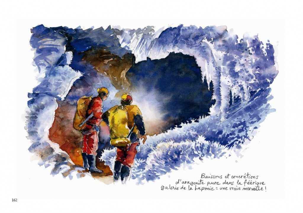 Les aquarelles et croquis réalisés pendant l'exploration témoignent de la beauté et de la rareté des découvertes, cette page n'est qu'un exemple du partage de ces moments d'exception.