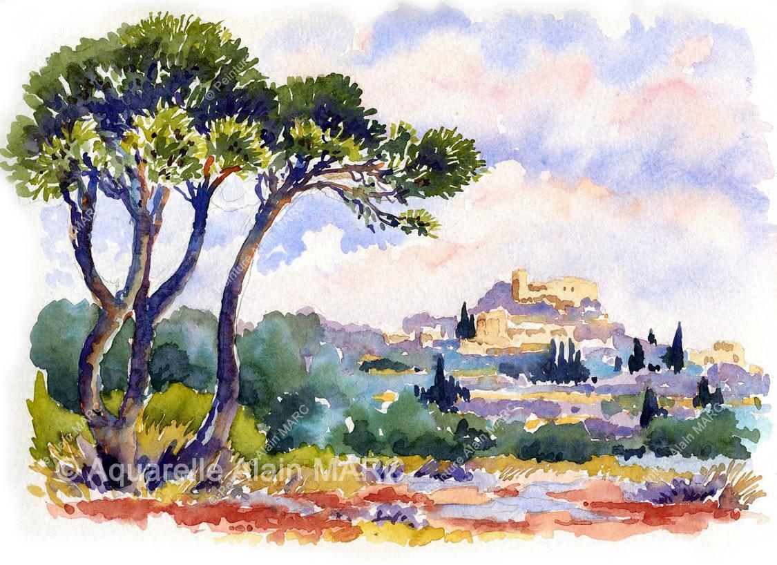 Cette aquarelle extraite du carnet de Provence, met en valeur les pins qui participent à la beauté de cette région, et au village de Vernègues où nous allons souvent peindre pendant les stages d'aquarelle.