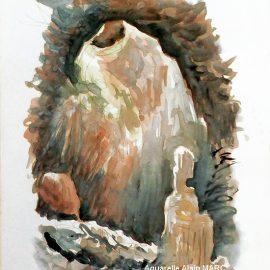 L'aventure du Grand Barrenc 2ème épisode : le grand puits, de l'aquarelle in situ au motif de mémoire.