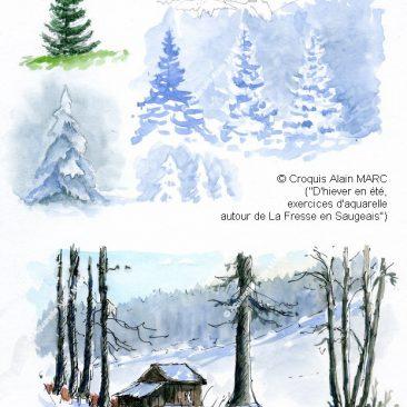 """Page extraite de l'album """"D'hiver en été, exercices d'aquarelle autour de La Fresse en Saugeais"""", un album consacré à cette région frontalière du Haut-Doubs"""