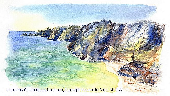 Falaises à Pounta da Piedade, Portugal Aquarelle Alain MARC