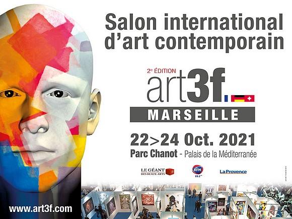 """L'affiche du salon d'art contemporain """"AER 3F"""" de Marseille 2021"""