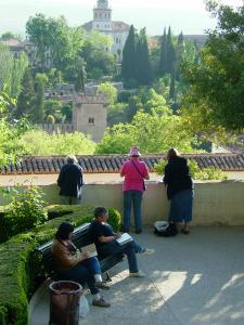 Dans les jardins du Généralife (Alhambra, stage carnet de voyage en Andalousie), Alain MARC Espagne, 1997